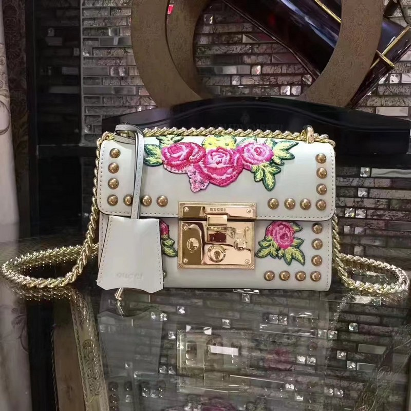Gucci Padlock Embroidered Leather Shoulder Bag 432182 White