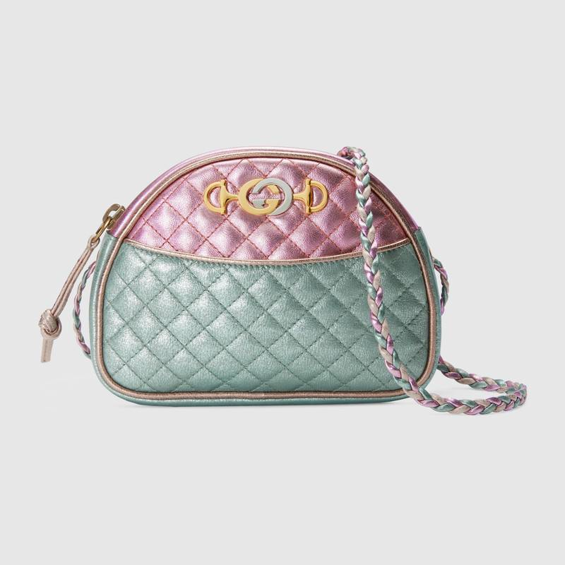 Gucci Laminated Leather Mini Bag 534951 Pink and blue
