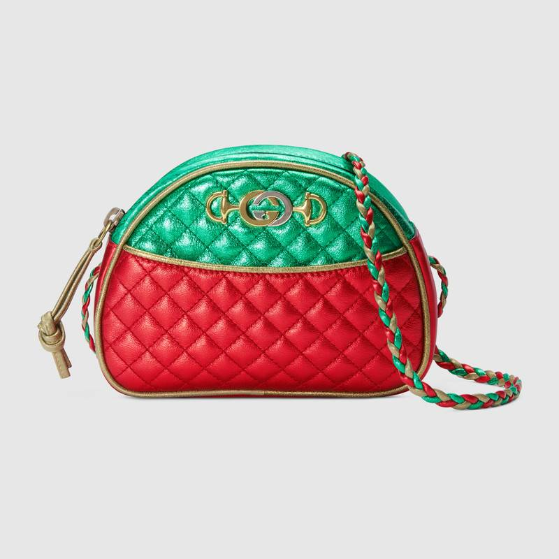 Gucci Laminated Leather Mini Bag 534951 Red and green