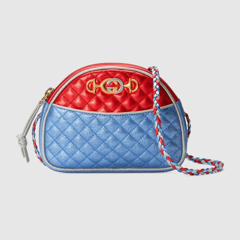 Gucci Laminated Leather Mini Bag 534951 Red and blue