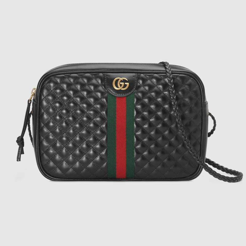 Gucci Laminated Leather Small Shoulder Bag 534951 Black