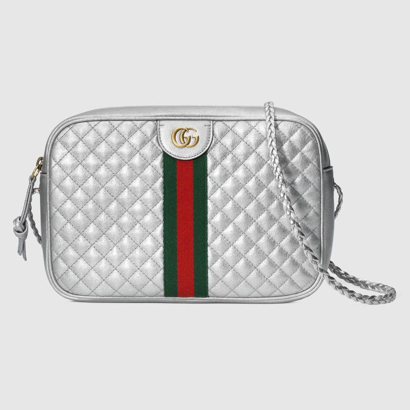 Gucci Laminated Leather Small Shoulder Bag 534951 Silver