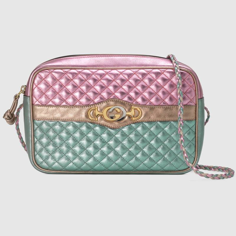 Gucci Laminated Leather Small Shoulder Bag 541061 Pink and blue