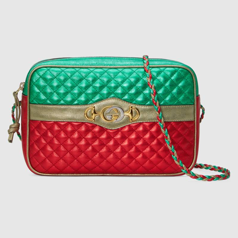 Gucci Laminated Leather Small Shoulder Bag 541061 Green and red